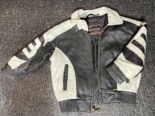 Vtg Giovanni 8 Ball Leather Jacket Bomber Style White Black Jacket Toddler 4