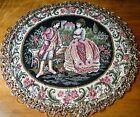 Vtg  doily tapestry figural  toppers w metallic trim Italian couple Renaissance