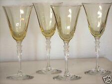 Fostoria Glass Stem #5099 Topaz/Yellow Wine Goblets w/ Clear Stem - Set of 4