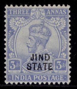 INDIAN STATES - Jind GV SG83, 3a bright-blue, LH MINT.