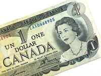 1973 Canada 1 Dollar Replacement EAX Circulated Lawson Bouey Banknote M836