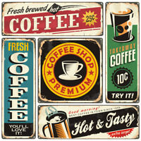 VINTAGE CAFE METAL SIGNS, RETRO COFFEE SHOP PLAQUES, AMERICAN DINER, CHOICE OF 5