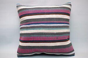 "Hemp Square Pillow, 20""x20"", Decorative Throw Cushion, Vintage Pillow"