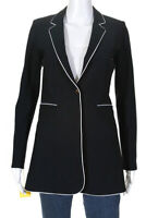 Tristan Womens Long Snap Blazer With Piping Black White Size Extra Small