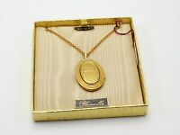 Vintage Gold-Tone Cable Chain Necklace w/Oval Locket Pendant in a Box