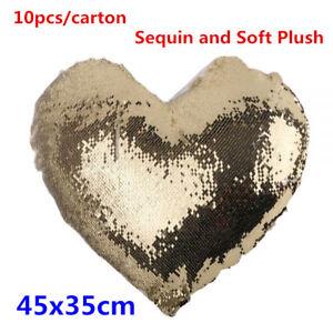 10pc Heart Shape Blank Reversible Sequin Magic Swipe Pillow Case for Sublimation