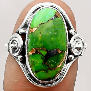 Spiril - Copper Green Turquoise 925 Sterling Silver Ring s.8 Jewelry 5617