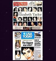 Elizabeth Taylor Newspaper Lot of 2 Different Tribute 2011 MT LA News USA Today