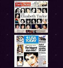 Elizabeth Taylor Newspaper Lot of 2 Different Tribute 2011 MT LA News USA Today