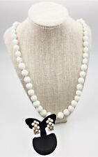 Glass Bead Necklace and Clip-On Earrings Woman's Fashion Vintage Jewellery 1950s