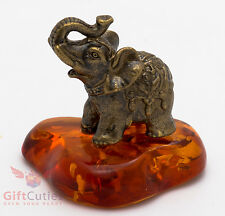 Russian Solid Brass Amber Figurine of Indian Elephant Totem talisman IronWork