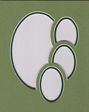 Picture frame mat, two greens with four ovals, 8 x 10