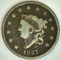 1827 Coronet Head US Large Cent Copper Coin VG Very Good Grade 1c US Penny Coin
