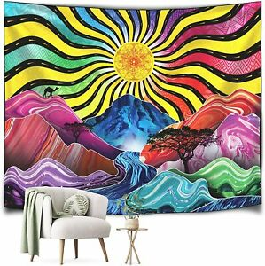 """Trippy Tapestry Psychedelic Colorful Sun Mountains River & Trees 60"""" X 51""""  NEW"""