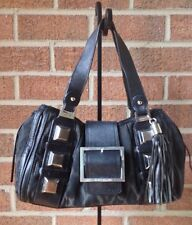 KAREN MILLEN Toned Down Leopard Print & Studs Handbag Front Buckle Tassel $389