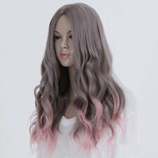 Women Long Gray Pink Ombre Loose Wave Curly Full Hair Wigs Costume Cosplay Lady