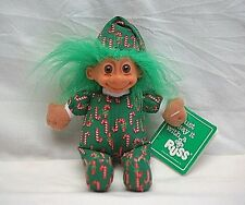 Vintage Russ Luv Pet Troll Doll Toy w Christmas Candy Cane Suit Green Hair w Tag