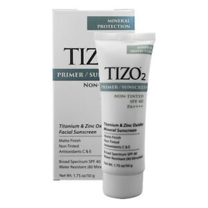 New Non - Tinted Primer Tizo 2 Facial Mineral Sunscreen SPF 40 1.75 oz / 50 g
