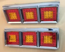 2x 24V TRIPLE LED TAIL LIGHTS CHROME REAR LAMPS for TRUCK MERCEDES SCANIA IVECO