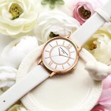 Ladies Fashion Rose Gold White Faced Quartz Roman Numeral White Band Wrist Watch