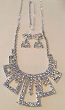 Clear Rhinestone Crystal Necklace. Pressure Back Earrings. Bracelet Set