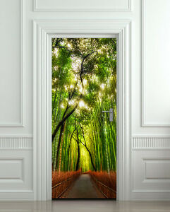 "Door wall sticker cover bamboo forest green trees way 30x79"" (77x200cm)"