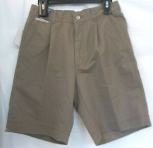 Roundtree & Yorke Size 30 Brown  Classic Fit Pleated Shorts New Mens