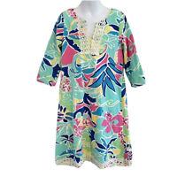 Peaches 'n Cream Girls Colorful Dress Size 10 V Neck Beach Resort Palm Tree