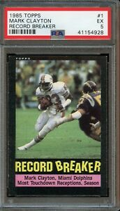1985 Topps Mark Clayton Record Breaker #1 PSA 5 Excellent. Miami Dolphins