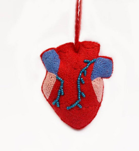 Red heart Felt Christmas Ornament, Felt Ornaments