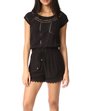 Ella Moss Womens Broderie Anglaise Romper Size S Tie Back Cap Sleeves Black NWT