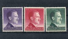 WWII German Polish GeneralGovernment Mi101-3 Hitler 54th birthday 3 stamp set