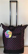 "20""Black W/Pink Polka Dot Wheeled Rolling Shopping Tote Bag wRetractable Handle"