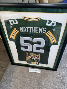 "Clay Matthews Signed Framed Jersey Green Bay Packers w/Coa 34.5""x43"" (7824)"
