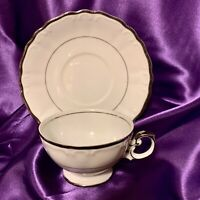 4 Cups & 4 Saucers Harmony House Fine China SILVER SONATA 3639 Japan
