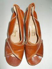 Manor Bourne For I. Magnin & Co. Vintage Brown Italian Wedge Pumps Heels Sz 7