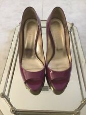 VALENTINO Wine/Purple Leather Open Toe Stiletto Heels Size 37