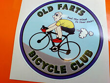 OLD FARTS BICYCLE CLUB Retro Humerous Car Bumper Sticker Decal 1 off  85mm