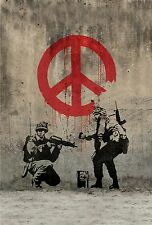 "Banksy, Soldiers Painting Peace, 10.75""x16"", Graffiti Art, Giclee Canvas Print"
