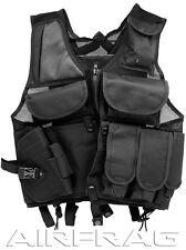 VT096B Black Adjustable Tactical Vest w Holster, Internal Pockets & Bladder Pack