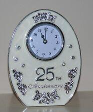 25th SILVER Wedding Anniversary Jewel Rose Oval Quartz Clock GIFT