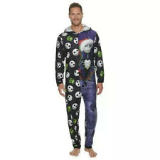 Mens Nightmare Before Christmas Jumpsuit Fleece Bodysuit With Hood Size small