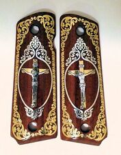1911 custom wood grips gold silver Christian Cross Jesus Crucifix scroll pattern