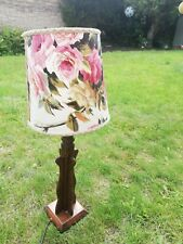 Salvaged English country table lamp with wooden base, floral shade, vintage.