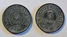 Belgique/Belgien - 2x 5 cent - 1915 + 1916-Albert I. - SS-VZ/vf-xf