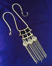 Designer Statement Necklace Black Beads, Hematite Stones, FRINGE Boutique 10U