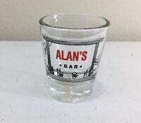 Alan's Bar name shot glass Man Cave/Bar