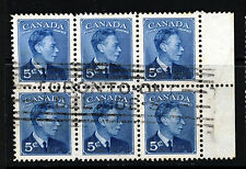 CANADA King George VI 1949-51 5c.Blue A BLOCK OF SIX SG 418 VFU
