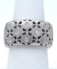 18k WHITE GOLD ROBERTO COIN DIAMOND FLORAL CUT OUT SATIN RING 12mm 11.9g 7
