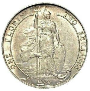 1902 EF Edward VII Silver Florin Two Shillings.